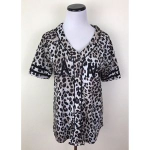Forever 21 Leopard Print Jersey Top